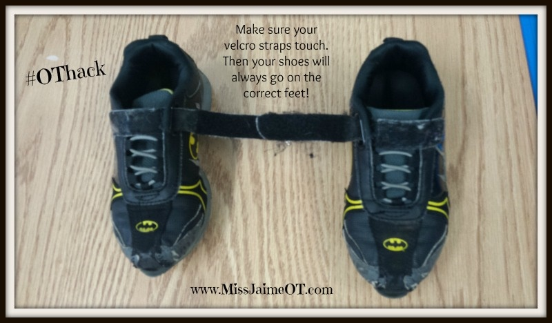 velcro shoes hack, shoe-tying, #pediOT #othack #functionalskillsforkids