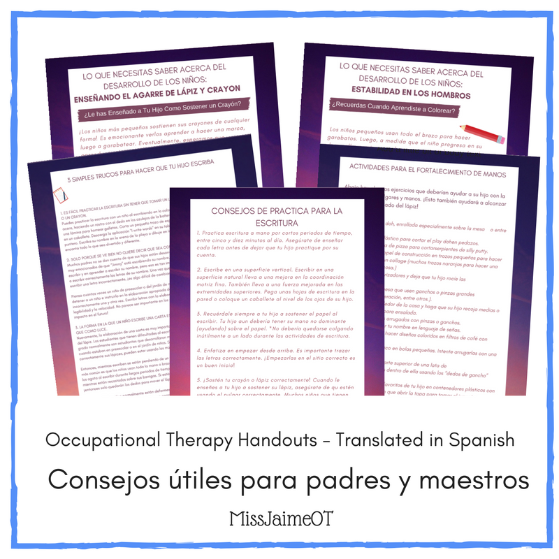 ot handouts for parents teachers and therapists translated in spanish. Black Bedroom Furniture Sets. Home Design Ideas