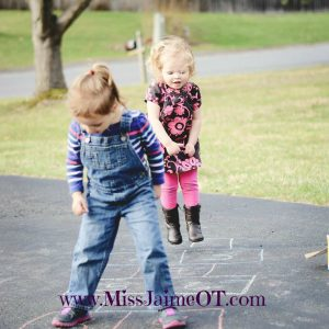 hopscotch, motor planning, playing, playground