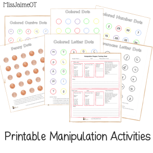 printable fine motor tracking, fine motor progress monitoring, manipulation progress, in-hand manipulation, Miss Jaime OT