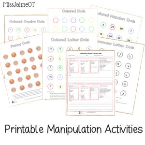 printable fine motor tracking, fine motor progress monitoring, manipulation progress, in-hand manipulation, Miss Jaime OT