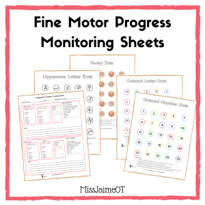 fine motor, manipulation skills, progress monitoring, data tracking,
