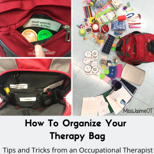 therapy bag, organize therapy bag, ot, pediot, Occupational therapy, pediatric therapy, travel therapist, therapist backpack
